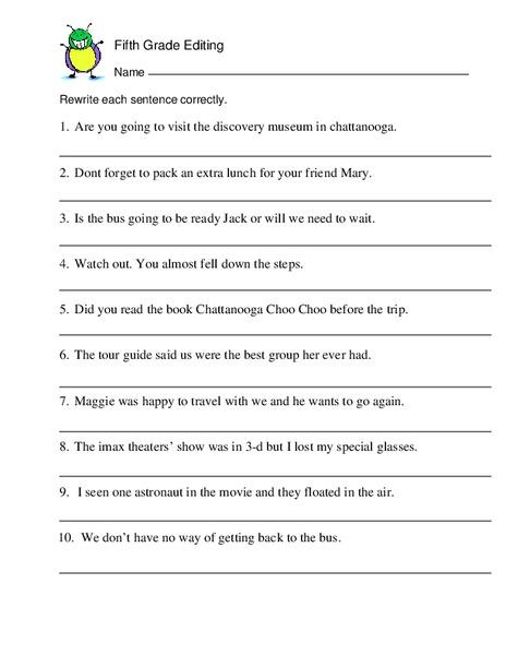 fifth grade editing worksheet for 5th 6th grade lesson. Black Bedroom Furniture Sets. Home Design Ideas