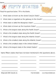 Fifty States Worksheet