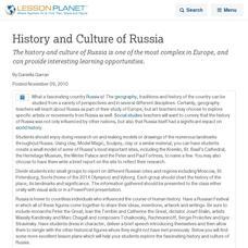 Russian Culture Lesson Plans & Worksheets | Lesson Planet