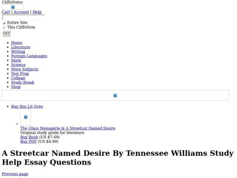 Romeo And Juliet Essay Thesis  A Streetcar Named Desire By Tennessee Williams Interactive Proposal Essays also Comparison Contrast Essay Example Paper A Streetcar Named Desire By Tennessee Williams Interactive For Th  Argumentative Essay Thesis Example