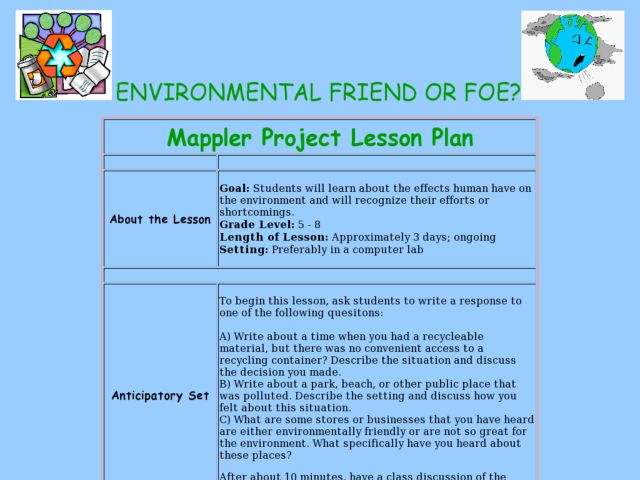 Mappler Project Lesson Plan: Humans and the Environment Lesson Plan