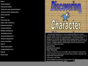 Discovering Character Lesson Plan