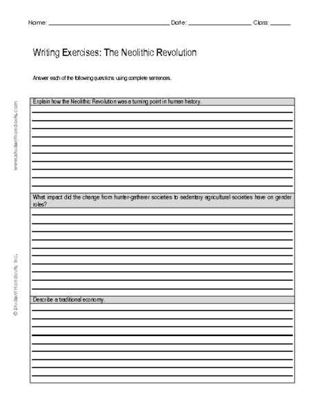 neolithic revolution worksheets switchconf writing exercise the neolithic revolution 7th 10th grade