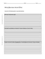 Writing Exercise: Ancient China Worksheet