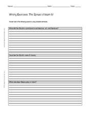 Writing Exercises: The Spread of Islam IV Worksheet