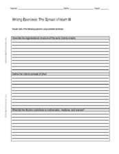 Writing Exercise: The Spread of Islam III Worksheet