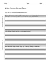 Writing Exercise: Medieval Europe Worksheet