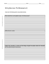 Writing Exercise: The Renaissance II Worksheet