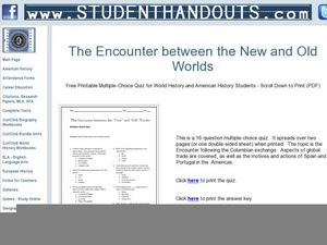 The Encounter Between the New and Old Worlds Worksheet