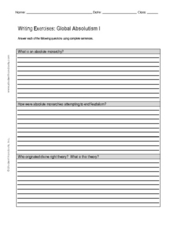 Writing Exercise: Global Absolutism I Worksheet