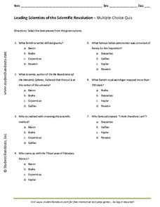 Leading Scientist of the Scientific Revolution Worksheet