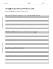 Writing Exercises: The Scientific Revolution II Worksheet