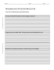 Writing Exercises: The Scientific Revolution III Worksheet