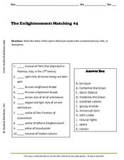 Worksheets Enlightenment Worksheet the enlightenment matching activity 4 7th 9th grade worksheet worksheet