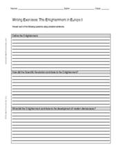 Writing Exercises: The Enlightenment in Europe I Worksheet