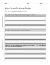 Writing Exercises: The American Revolution Worksheet