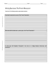 writing exercise the french revolution worksheet for 7th 9th grade lesson planet. Black Bedroom Furniture Sets. Home Design Ideas