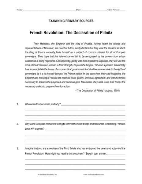 French Revolution The Declaration Of Pillnitz Worksheet