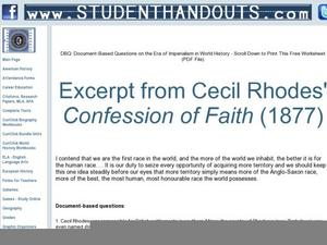 thesis for cecil rhodes confession of faith Essay about myself for scholarship application, dna database essays, phisiology history thesis, cecil rhodes confession of faith essay.