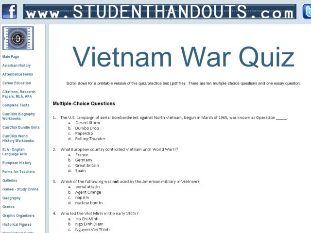 Vietnam War Quiz 10th 11th Grade Worksheet – Vietnam War Worksheets