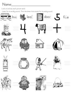 Final Consonant Sounds Worksheet