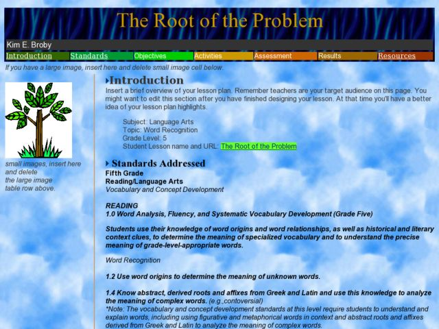 The Root of the Problem Lesson Plan