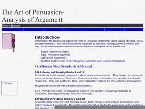 The Art of Persuasion-Analysis of Argument Lesson Plan