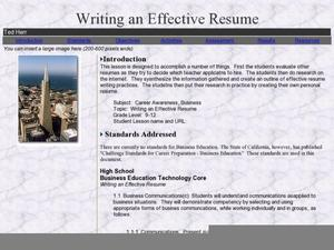 Writing an Effective Resume Lesson Plan