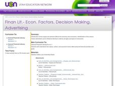 Finan Lit.- Econ. Factors, Decision Making, Advertising Lesson Plan