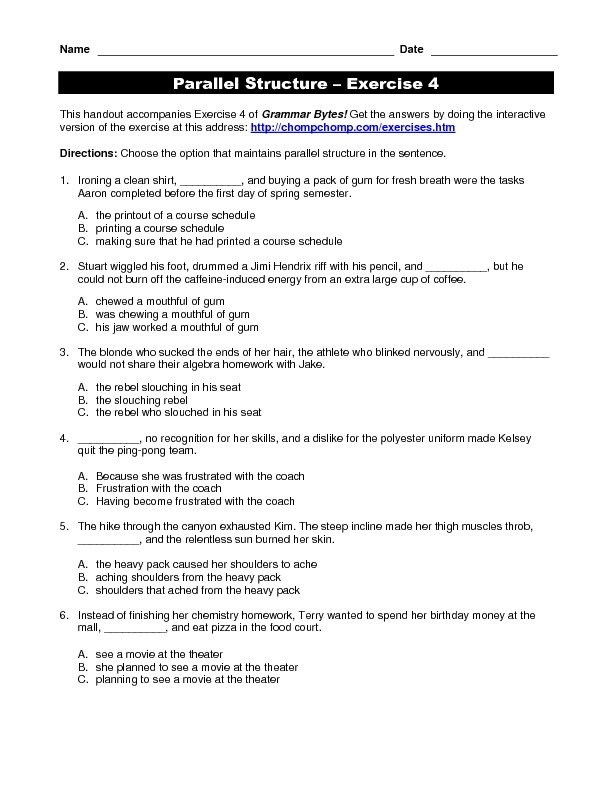 Parallel Structure Practice 5th - 12th Grade Worksheet | Lesson Planet