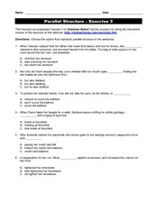 Parallel Structure, Exercise 3 Worksheet