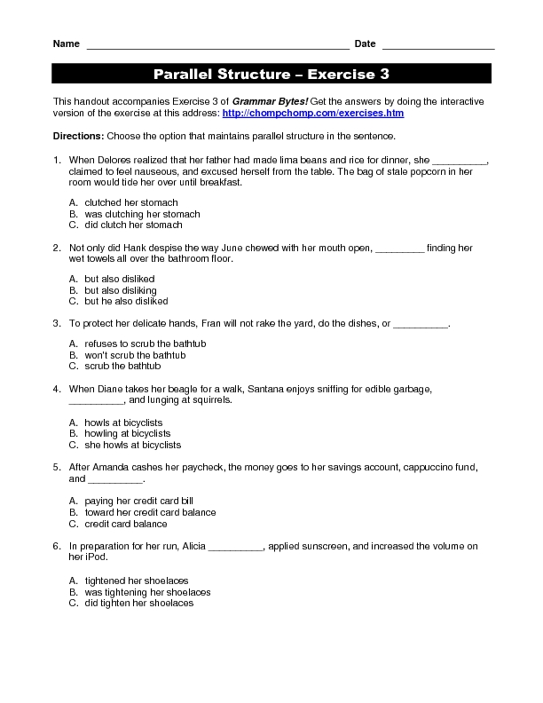 Parallel Structure, Exercise 3 Worksheet for 4th - 12th Grade