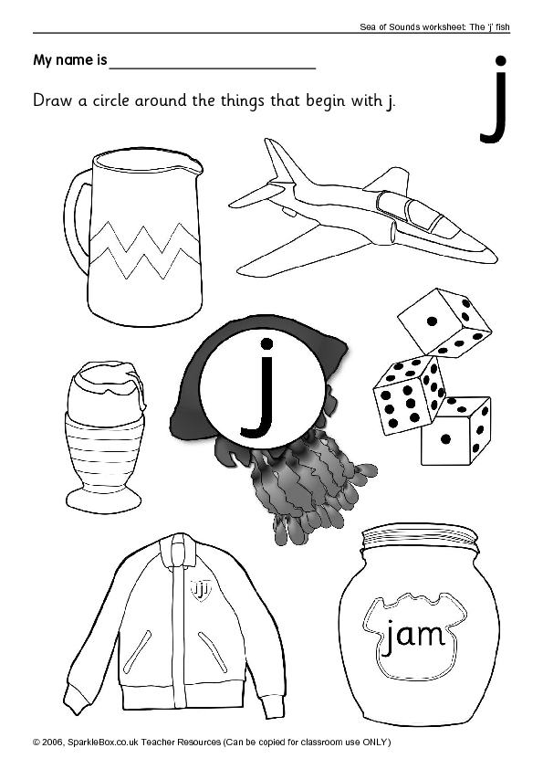 things that begin with the letter j worksheet for kindergarten - 1st