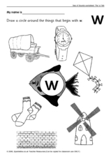 Sea of Sounds Worksheet: 'W' Worksheet