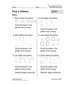 Find a Pattern Worksheet
