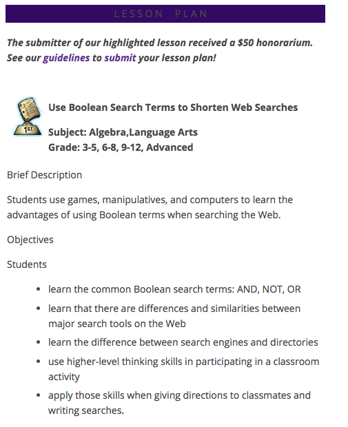 Use Boolean Search Terms to Shorten Web Searches Lesson Plan