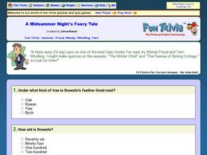 A Midsummer Night's Faery Tale quiz Worksheet