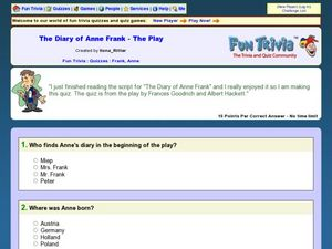 The Diary of Anne Frank-The Play Worksheet