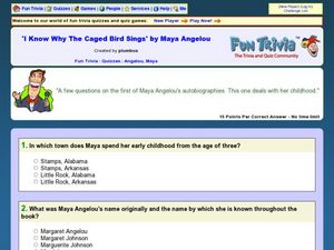 I Know Why the Caged Bird Sings by Maya Angelou: Fun Trivia Quiz Worksheet