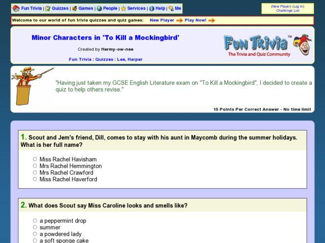 Minor Characters In To Kill A Mockingbird Fun Trivia Quiz Worksheet