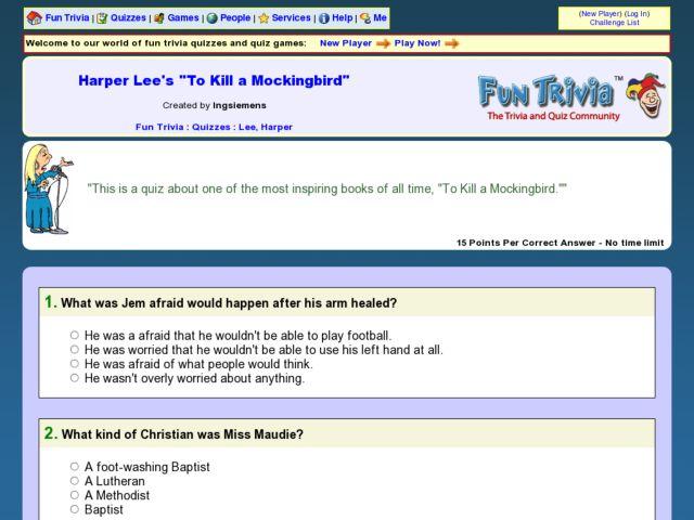 Harper Lee S To Kill A Mockingbird Fun Trivia Quiz Worksheet For