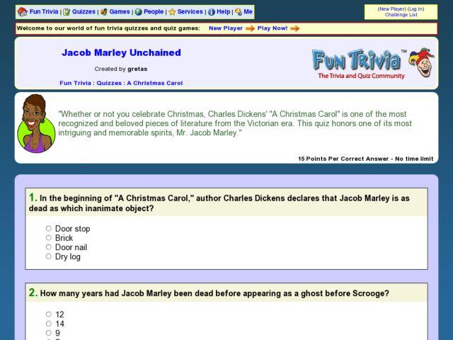 Christmas Carol Trivia.Jacob Marley S Ghost Fun Trivia Quiz On Dickens A
