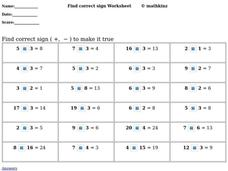 Find the Correct Sign Worksheet Worksheet