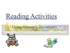 Reading Activities Using Bloom's Taxonomy Presentation