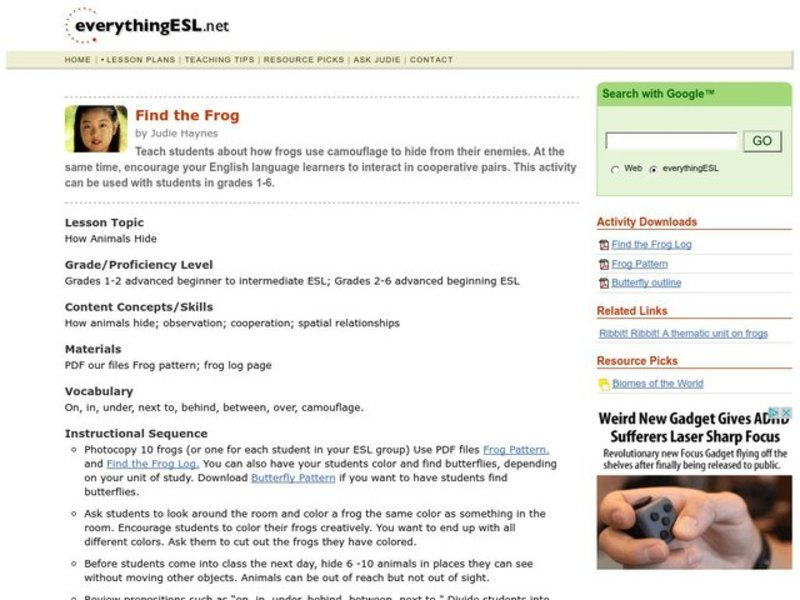 Find the Frog Lesson Plan