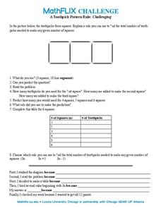 A Toothpick Pattern Rule Worksheet