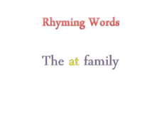 Rhyming Words: The -at Family Presentation