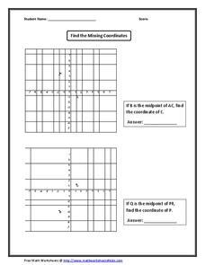 Find the Missing Coordinates Worksheet for 10th Grade