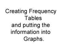 Creating Tables and Bar Charts Presentation