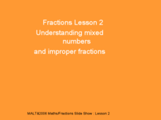 Fractions Lesson 2 - Mixed Numbers and Improper Fractions Presentation